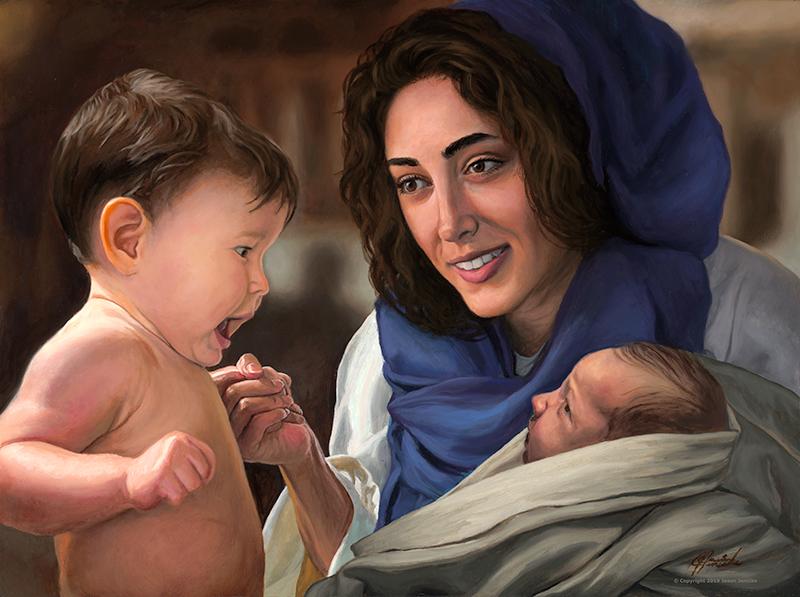 Christ Child and St. John The Baptist – Original Oil Painting